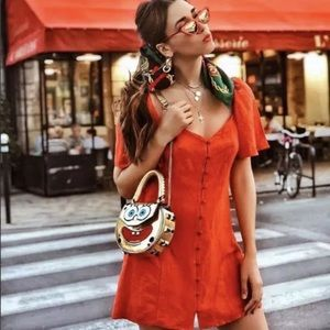 Zara red puff sleeve dress Small